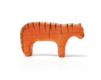 tiger wooden toy, waldorf toys, tiger figurine, wood toy animals, waldorf wooden toys