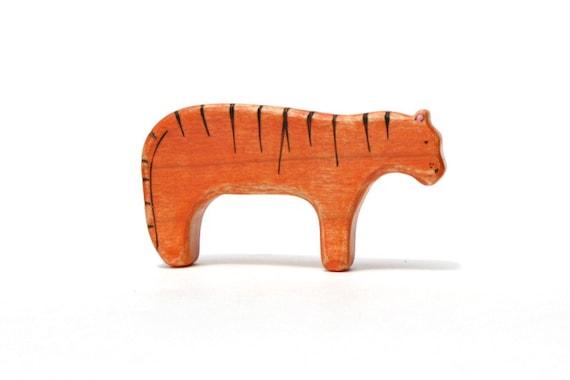 tiger wooden toy, waldorf toys, tiger figurine, wood toy animals, waldorf wooden toys