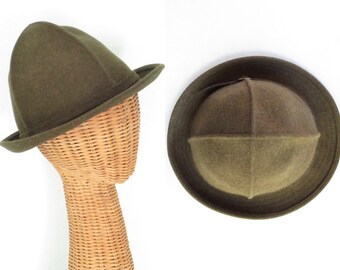 Alpine Wool Hat * Moss Felt Roll Hut * Vintage German Rollhut
