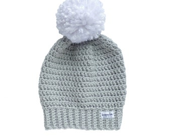 Crochet Slouch Beanie with Pom Pom | Sizes 6 Months and up| Gray, Grey, Baby Boy, Baby Girl, Toddler