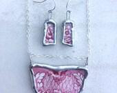 Garnet Red Vintage Ceramic Flower Necklace