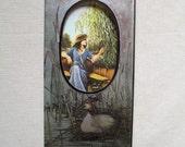 Vintage 1970s Blank Cameo Greeting Card, Heather Murray, Gallery Five, Boating, Die Cut, 1977