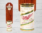 Miller High Life Wall Mounted Bottle Opener with Vintage Beer Can Cap Catcher, Fathers Day Gift