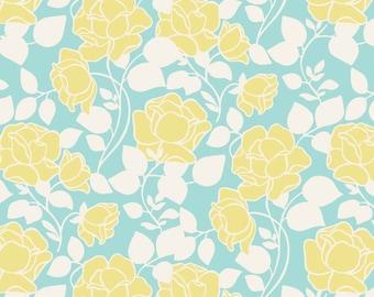 Joyful Garden - Rose Garden - Lt. Teal  Cotton Print - Fabric by David Textiles - you choose the cut
