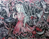 Huge hand painted red black white silk wrap & matching silktie designed in Alice in Wonderland motifs tor a wedding