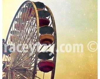 Ferris Wheel Print, Yellow, Carnival Decor, Baby Nursery Art, Gold, Santa Monica, California Prints