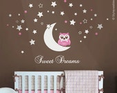 Owl Wall Decal, Owl Moon and Stars Wall Decal, Sweet Dreams Vinyl Lettering, Moon and Stars Wall Decal, Owl Stars Nursery Kids Wall Sticker