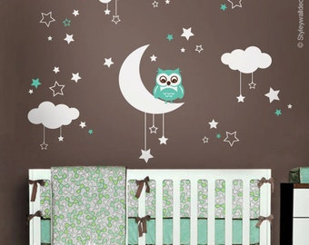owl wall decal etsy. Black Bedroom Furniture Sets. Home Design Ideas