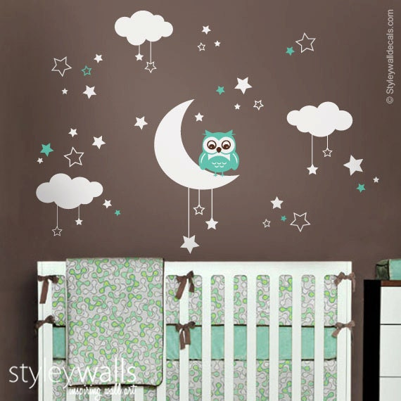 Owl Wall Decal Owl Moon Stars And Clouds Wall Decal Moon