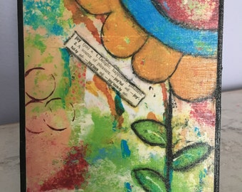 Collage art, mixed media print mounted on wood,Joy,orange flower, inspirational