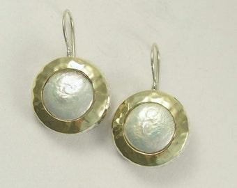 Coin pearl earrings, Yellow gold earrings, two-tone earrings, hammered gold earrings, sterling silver earrings - White fields forever E7717