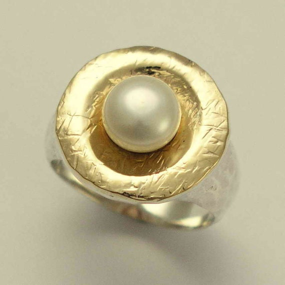 Pearl Engagement Ring, sterling silver gold ring, statement ring, cocktail ring, hammered gold ring, two-tone ring - Love is around R1235G