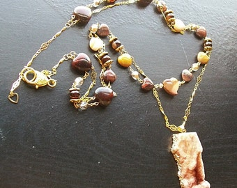 Orange Agate Druzy with Mookaite, Red Tiger's Eye Double long Necklace-Double the Lovin'-Extra long double strand gemstone necklace Autumnal