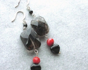 AUTUMN SALE Rutilated Quartz with Black Onxy Hearts Earrings-Blood Drop-Red, Black, Faceted, Silver