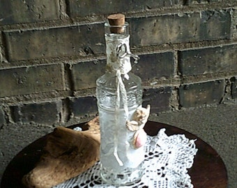 White Lace Bottle, Vintage Lace Bottle, Shabby Chic Home Decor, Altered Bottle, Angel