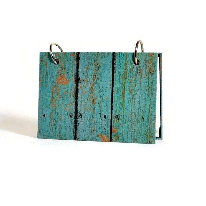3 x 5 or 4 x 6 index card laminated binder turquoise