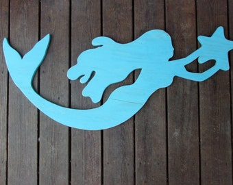 Large Reclaimed Wood Mermaid. Handmade Mermaid Sign. Coastal Decor. Girls Room Decor. Mermaid Wall Art. Beach Room Decor. Made To Order