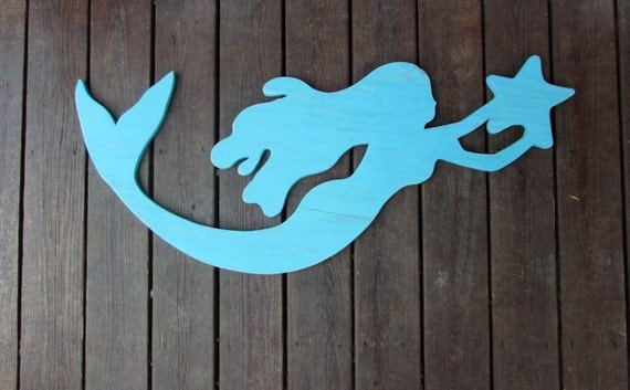 Large Reclaimed Wood Mermaid Handmade Mermaid Sign Coastal