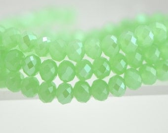 """Glass Faceted Rondelle 4x6mm, Chinese Crystal beads, Green Jade Sparkle- (BZ06-135)/ 16"""" full strand/ 95 beads"""