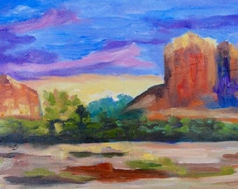 Sedona - Modern Impressionist Original Oil Painting Landscape of Arizona by Rebecca Croft