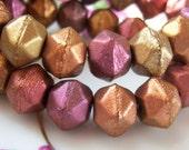 Czech 10mm metallic berry, gold, copper lavender mix english cut beads,  (15) beads per strand - GB200