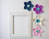 flower wall decal, girls room, nursery decor, wall flower, 3d art. wall decor. fabric wall flower. magenta fabric flower. shower gift