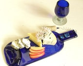 Melted Wine Bottle Cheese and Appetizer Tray - Plate - Up-Cycled Blue Wine Bottle Platter Plate - Handmade Eco Gift - Hostess Gift - Blue