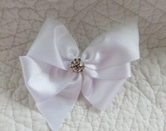 Wedding  Dog Hair Bow  Custom Made Ribbon and Rhinestone