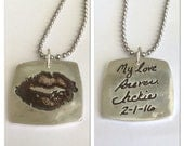 Double Sided Kiss Print and Message Silver Necklace - Your Actual Kiss Print and Handwriting - By Surfingilver