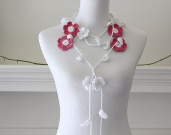 Crocheted White, Pink Lariat, Necklace, Scarf, Scarflette