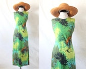 S A L E cotton watercolor maxi / 1960's