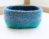 Turquoise Wool Basket, Knit Felt Storage Basket, Boiled Wool Storage Basket, Purple Wool Storage Basket, Lime Green Wool Felt Rectangle
