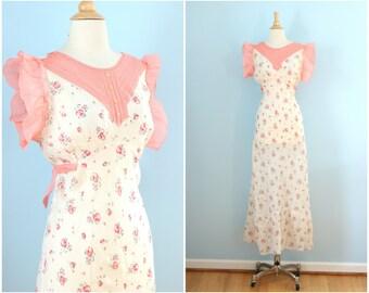 1930s cotton bias cut dress / 30s floral print cotton maxi dress / Rose Bouquet dress