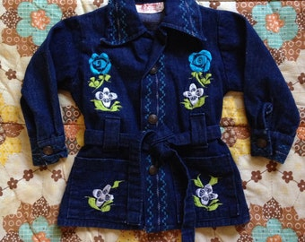 Vintage 70s childrens embroidered denim jacket / Mexican floral embroidery / kids toddler size 2 2T