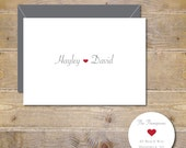 Wedding Thank You Cards, Bridal Shower, Thank You Cards, Hearts,  Wedding, Affordable Wedding, Simple Wedding, Personalized, New Couple