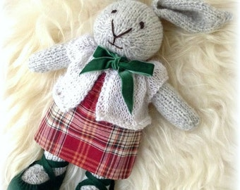 Knitted toy. Knitted bunny. Wool toy. Bunny.