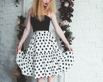 Polkadots print Ruffle Hem midi skirt /  knee length skirt / Tiered skirt - 50% off - summer sale