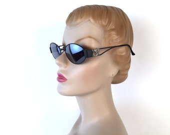 Vintage 90s YSL Big Logo Sunglasses, Oval Frame, Black, Silver, Charcoal Lens, Yves Saint Laurent, Model 6039, Deadstock, Made in Italy