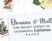 Custom Address Stamp, Calligraphy Stamp, Custom Stamp,  Personalized Stamp, Wedding Stamp, Self Inking or Eco mount -  Breanna