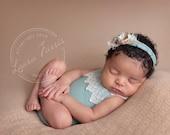 Newborn Romper Set.  Lace Trim. Mint.  Baby Romper.  Flower tieback. Jersey tieback. Photography Prop Newborn. Afton. Tolola Designs.