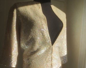 STUNNING Vintage 1950's Sequin Wool Sweater - Ivory Sequined Pin-Up Bombshell Sweater - sz M