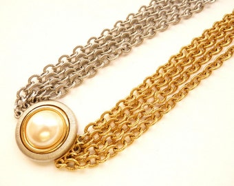 Monet 4 Strand Choker Necklace Silver and Gold Tone Chains with Pearl Cabochon