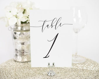 """Romantic Calligraphy Table Numbers - 5x7"""""""