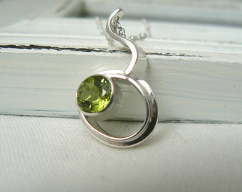 Sterling silver and Peridot Gemstone Pendant with chain - READY TO SHIP