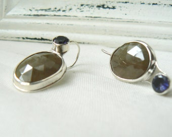 Asymmetrical Pair of Earrings with rose cut sapphires and Iolites - Gemstone 925 cabochon handmade