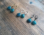 Gold and Emerald Green Chalcedony Drop Earrings Bridesmaid Gift Gemstone Jewelry Wire Wrapped One of A Kind Handmade in Indiana