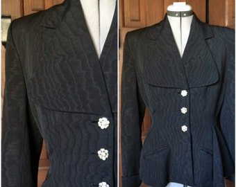 1940s Black Moire Lilli Ann Jacket New Look