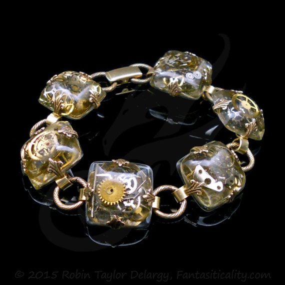 Steampunk Bracelet ~ Hand Cast Square TIME FOSSILS Resin Cabochons ~ Brass Links, Foldover Clasp ~ Handmade ~ #B0080 by Robin Taylor Delargy