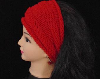 Wide Headband, Knitted Red Ear Warmer, Knit Earwarmer, Red Headband, Headband