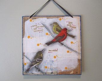2D mixed media collage, snarky bird art, tiny art